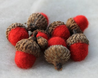 Wool Needle Felted Acorns in Chili Pepper Red Wool Roving Eco Friendly Home Decor