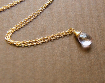 Tiny Lavender Amethyst Gold Filled Necklace- Lily Necklace