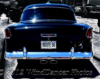 Classic Car - Fine Art Photo - 55 Chevy - Old Chevy - Rt 66 - Man Cave -16x20 Matted Photo - Gift for Men - Retro - Americana -Wall Art