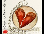 Heart Jewelry - Love Necklace - Heart Necklace - Bloody Valentine Style-A Brown Small Pendant - Square Or Round - Broken Heart Jewelry