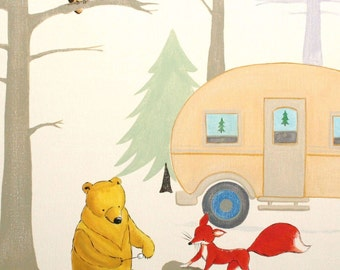 Camp Hawk- PRINT 8x10 size, forest, camping, fox, hawk, owl, campfire, bear