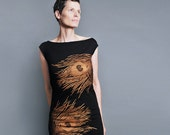 Peacock Dress - Black T shirt Dress -  Metallic Copper Peacock Print - Gift For Her
