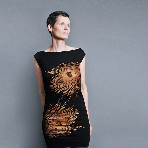 Sale - SMALL - Peacock Dress - Black T shirt Dress -  Metallic Copper Peacock Print - Gift For Her