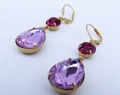 Lavender and Red Violet Jewel Drop Earrings, Glass jewel dangle earrings on gold leverbacks