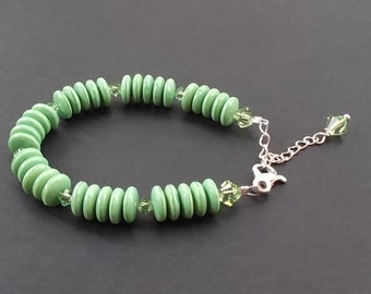 Mint green bracelet with vintage Czech Glass Saucer Beads and Crystal