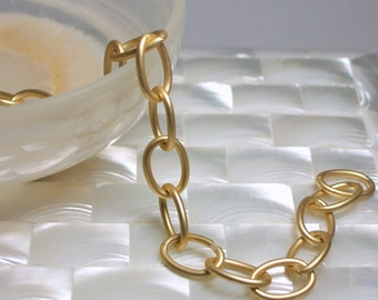 1 Foot Gold Chain Matte/Satin Gold Chain Smooth LARGE Link OVAL Nickel Free Chain Brass chain Jewelry Chain Jewelry Supplies Jewellery