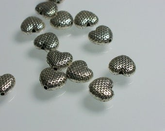 5pcs Beads 10mm Pewter Puffed Heart Shape Antiqued silver Textured Jewelry Beads Jewelry Supplies Jewellery Supplies