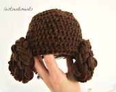 NEWBORN - Crocheted Princess Leia Hair Hat - by lostsentiments