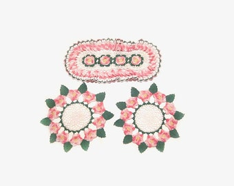 Vintage Pink Flower Doily Lot, Crocheted Doilies