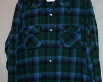 Vintage 50s/60s Loop Collar Shadow Plaid Pendleton Wool Shirt, 48 Chest