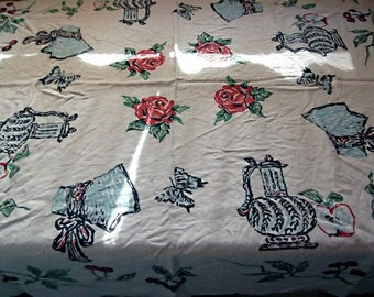 Vintage 50s,60s Linen Novelty Print Tablecloth, Roses,Cherries, Pitchers, Butterflies & Bonnets