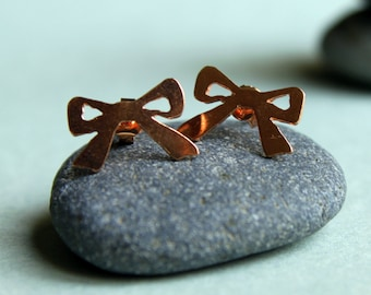 Rose Gold Bow Studs I Have a Gift Earrings Metalwork Sterling Silver