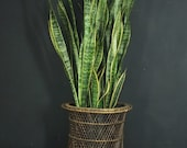 Vintage Natural Wicker Urn Plant Stand Pedestal Basket