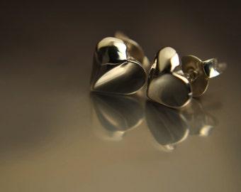 sterling silver heart stud earrings (.925)