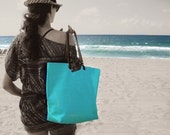 Bright Beach Bag, Turquoise Tote Bag, Aqua Linen Bag, Resort Tote Bag, Colorful Tote Bag, Summer Tote Bag, Linen Bags