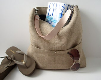 Resort Tote, Summer Beach Bag, Bucket Tote, Hobo Tote, Linen Bag, Natural Jute Woven Tote,