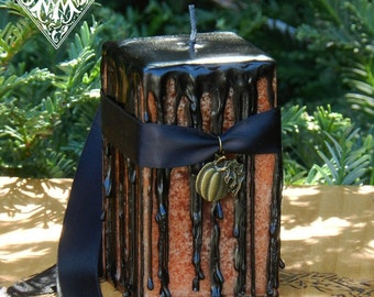 Hallows Eve Witches Magick Candle 2x3 Square . Orange with Black Drips for Samhain and Halloween