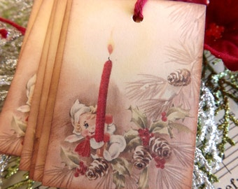 Vintage Holiday Fairy Gift Tags // Set of 6