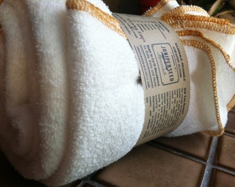 2 Fitness Workout Towels - Organic, Unbleached, Bamboo, French Terry Double Loop