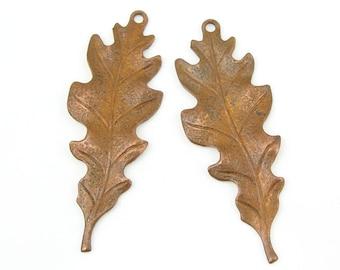 Oak Leaf Charms Vintaj Artisan Copper Charms TALIESIN LEAF Pendants Aged Copper Leaves Autumn Fall Jewelry Supplies (CP003)