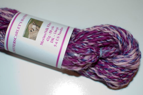 Pink/Purple Merino/Silk Handspun Yarn 42g/58yds