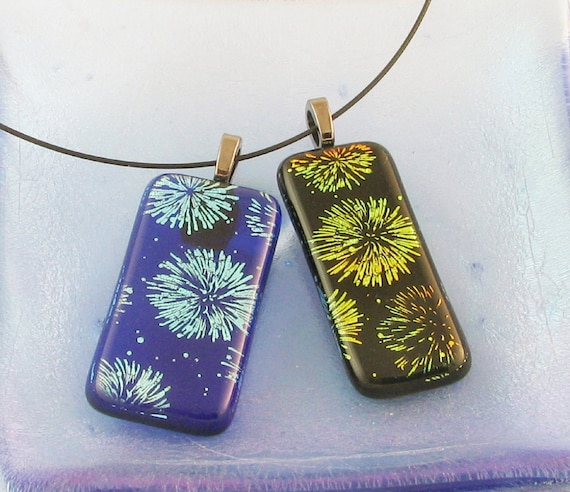 4th of July jewelry - Dichroic Fireworks exploding on Black or Blue sky - dichroic glass jewelry - Royal blue fireworks  (2703-3737)