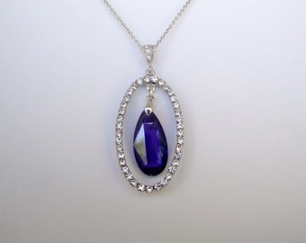 Purple Teardrop Cubic. Zirconia  Pendant Prom Mother's Day Bride Bridesmaid Mother of the Bride Mother of the Groom Sweet Sixteen