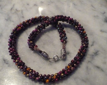 Kumihimo Braided Necklace - Browns, magenta, and butterscotch