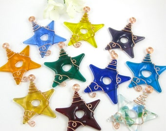 Glass Star Suncatchers - Ten Fused Glass Stars Ornaments - Your Choice of Colors - Multi Colored Glass Star Suncatcher Ornaments