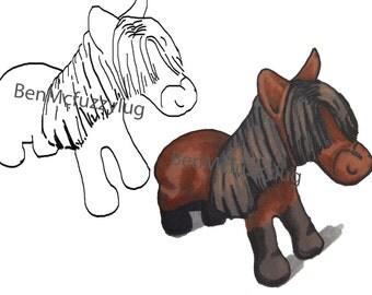 Digital Stamp.(Digi stamp)  Horse stamp. Cardmaking. Craft Supplies, Instant download. Horse art. BenMcFuzzylugs Stamp
