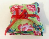 Green and Pink Floral Dried Rose or Lavender Sachets