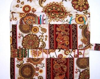 Gold Circular Knitting Needle Roll, Cream Rust Crochet Hook Holder, Double Pointed Needle DPN Case, Artist Brushes Storage Organizer