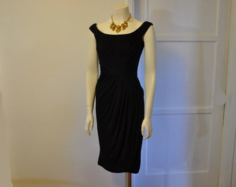 50s dress / Ruched O Rama Vintage 1950's Ceil Chapman Black Draped Silk Jersey Cocktail Wiggle Dress