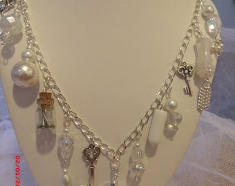 Victorian Romance Crystal and Pearl Charmed Necklace