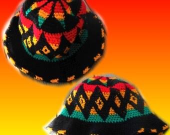 Vtg 80s Navajo Southwestern Geometric Hipster Rave Rainbow Hip Hop Rasta African Jamaican Kawaii Seapunk Ethnic Tribal Beanie Hat