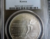 Reserved GB -1991 D U.S. Korean War Commemorative 1 Dollar Silver Coin