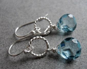 Aquamarine earrings, Just a Schpritz of Aqua Single Drop Earrings, quartz earrings, hoop earrings, gemstone earrings, dangle earrings