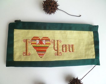 I love you pencil pouch, cross stitch, marked down 40%, zipper, hand embroidery, hand stitched, green and yellow