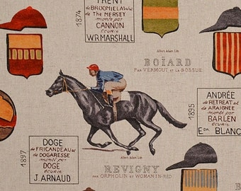 French horse racing fabric equestrian jockey interior home decorating material BTY 1 yard