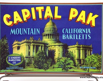 1930s Kitchen Art Fruit Crate Label California Mountains Pears
