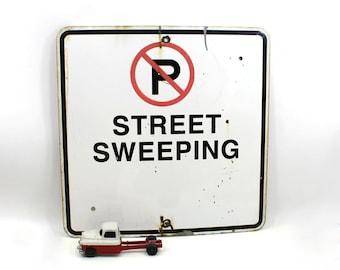 1970s Street Sweeping Sign, Huge Vintage Metal Traffic Road Sign