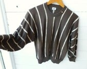 Vintage 70s 80s Dark Brown Batwing Sweater with Gold Button & Stripes
