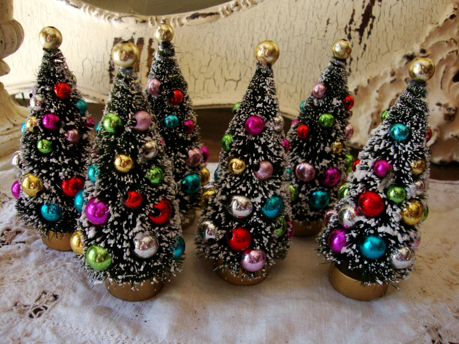 bottle brush trees 41  2 flocked christmas trees with cottage chic home decor cottage chic wall decor