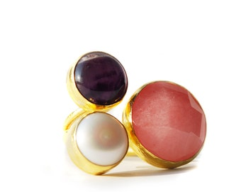 Cherry Quartz, Amethyst and Pearl Ring