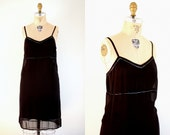Vintage Black Silk Beaded Slip Dress