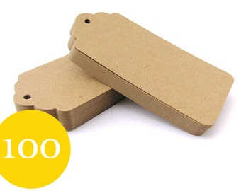 100 Kraft Tags - Large Luggage Tags - Blank Gift Tags - Parcel Tags - Hang Tags - Wedding Tags - Thank You Tags - Scalloped Tags
