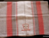 Embroidered Linen Tea Towel, Dish Towel, Teacup, Red Gray Striped,