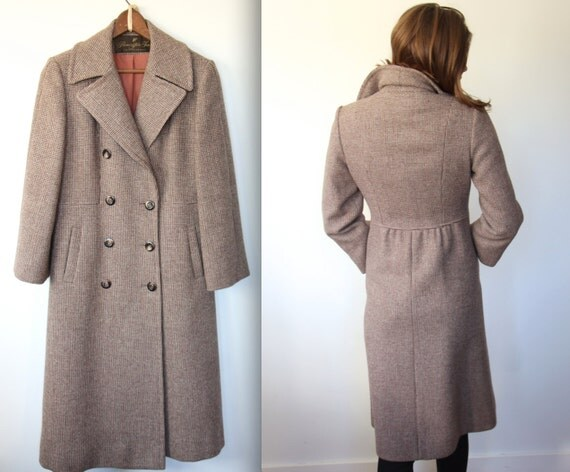 Vintage long tweed coat. Women's Small. 1960s chestnut