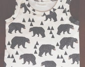 baby tank top, Organic baby tank top in geometric bear print, baby shirt, toddler shirt