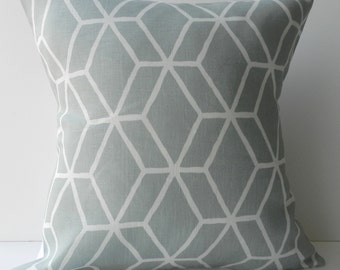 New 18x18 inch Designer Handmade Pillow Case in blue/grey geometric lattice